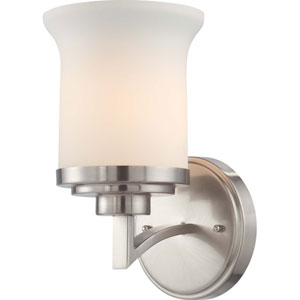 Harmony Brushed Nickel One-Light Bath Fixture with Satin White Glass