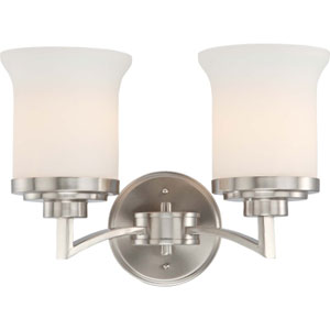 Harmony Brushed Nickel Two-Light Bath Fixture with Satin White Glass