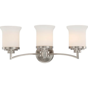 Harmony Brushed Nickel Three-Light Bath Fixture with Satin White Glass