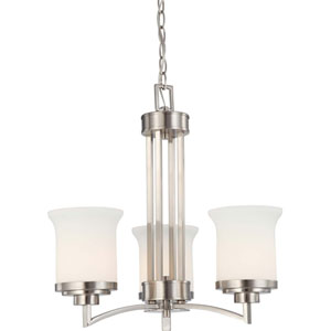 Harmony Brushed Nickel Three-Light Chandelier with Satin White Glass