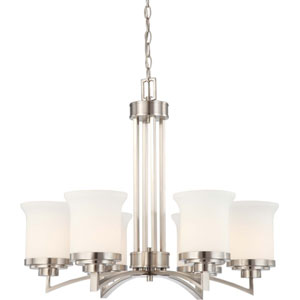 Harmony Brushed Nickel Six-Light Chandelier with Satin White Glass