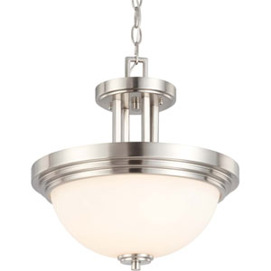 Harmony Brushed Nickel Two-Light Semi Flush Mount with Satin White Glass