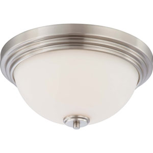 Harmony Brushed Nickel Two-Light Flush Mount with Satin White Glass