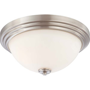 Harmony Brushed Nickel Three-Light Flush Mount with Satin White Glass