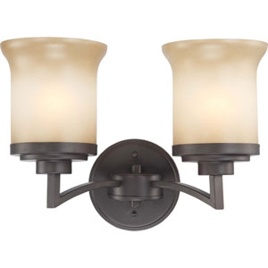 Harmony Dark Chocolate Bronze Two-Light Bath Fixture with Saffron Glass