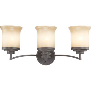 Harmony Dark Chocolate Bronze Three-Light Bath Fixture with Saffron Glass