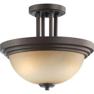 Harmony Dark Chocolate Bronze Two-Light Semi Flush Mount with Saffron Glass