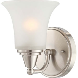Surrey Brushed Nickel One-Light Bath Fixture with Frosted Glass