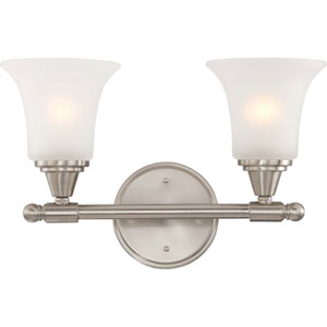 Surrey Brushed Nickel Two-Light Bath Fixture with Frosted Glass