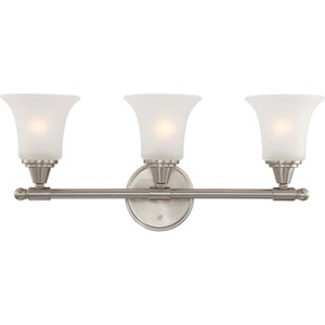 Surrey Brushed Nickel Three-Light Bath Fixture with Frosted Glass