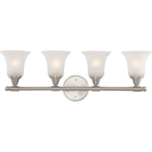 Surrey Brushed Nickel Four-Light Bath Fixture with Frosted Glass