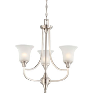 Surrey Brushed Nickel Three-Light Chandelier with Frosted Glass