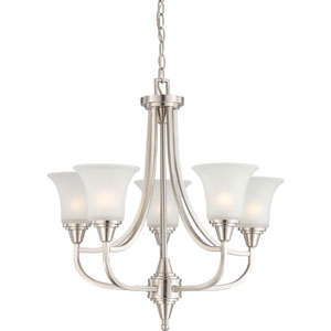 Surrey Brushed Nickel Five-Light Chandelier with Frosted Glass