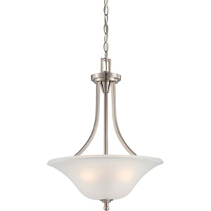Surrey Brushed Nickel Three-Light Pendant with Frosted Glass