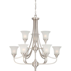 Surrey Brushed Nickel Nine-Light Chandelier with Frosted Glass