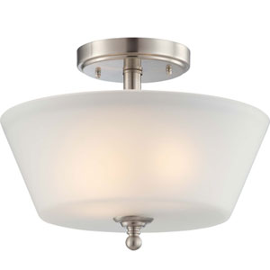 Surrey Brushed Nickel Two-Light Semi Flush Mount with Frosted Glass