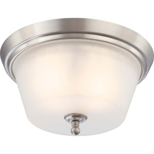 Surrey Brushed Nickel Two-Light Flush Mount with Frosted Glass