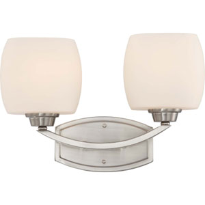 Helium Brushed Nickel Two-Light Bath Fixture with Satin White Glass