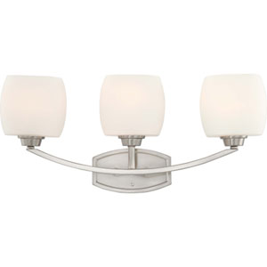 Helium Brushed Nickel Three-Light Bath Fixture with Satin White Glass