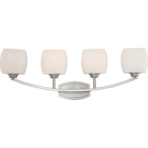 Helium Brushed Nickel Four-Light Bath Fixture with Satin White Glass