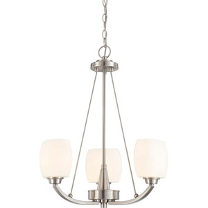 Helium Brushed Nickel Three-Light Chandelier with Satin White Glass