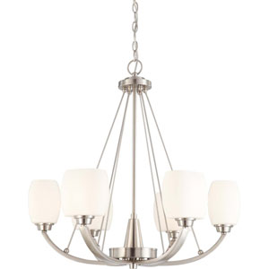 Helium Brushed Nickel Six-Light Chandelier with Satin White Glass