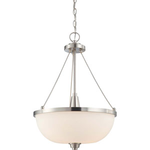 Helium Brushed Nickel Three-Light Pendant with Satin White Glass
