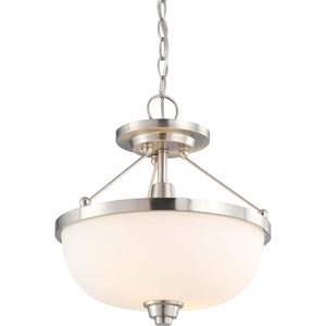 Helium Brushed Nickel Two-Light Semi Flush Mount with Satin White Glass