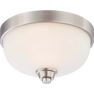 Helium Brushed Nickel One-Light Flush Mount with Satin White Glass