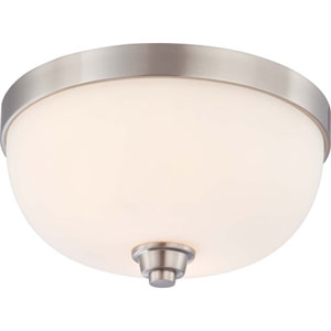 Helium Brushed Nickel Two-Light Flush Mount with Satin White Glass