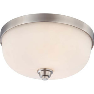 Helium Brushed Nickel Three-Light Flush Mount with Satin White Glass