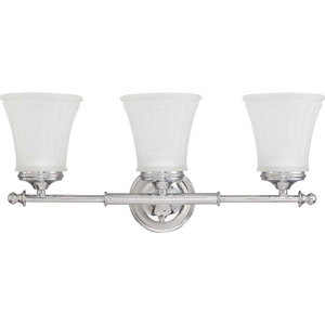 Teller Polished Chrome Three-Light Bath Fixture with Frosted Etched Glass