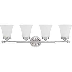 Teller Polished Chrome Four-Light Bath Fixture with Frosted Etched Glass