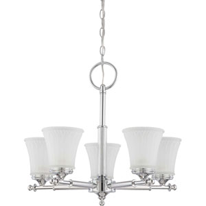 Teller Polished Chrome Five-Light Chandelier with Frosted Etched Glass