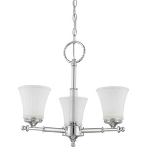 Teller Polished Chrome Three-Light Chandelier with Frosted Etched Glass