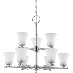 Teller Polished Chrome Nine-Light Chandelier with Frosted Etched Glass