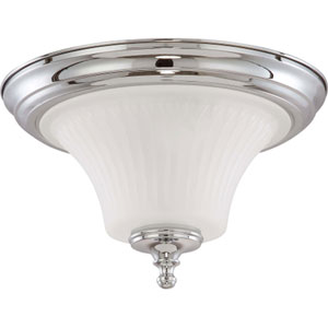 Teller Polished Chrome Two-Light Flush Mount with Frosted Etched Glass