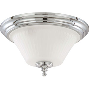 Teller Polished Chrome Three-Light Flush Mount with Frosted Etched Glass