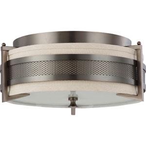 Diesel Hazel Bronze Three-Light Flush Mount with Khaki Fabric Shade