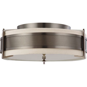 Diesel Hazel Bronze Four-Light Flush Mount with Khaki Fabric Shade