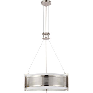 Diesel Polished Nickel Four-Light Pendant with Slate Gray Fabric Shade