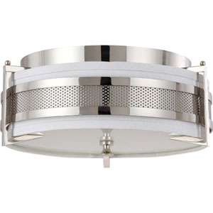 Diesel Polished Nickel Three-Light Flush Mount with Slate Gray Fabric Shade