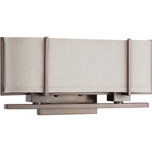 Portia Hazel Bronze Two-Light Bath Fixture with Khaki Fabric Shade