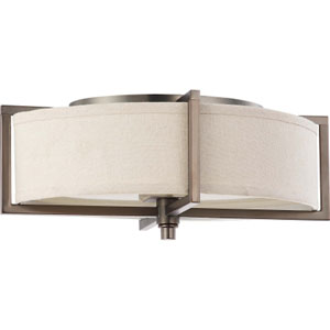 Portia Hazel Bronze Two-Light Flush Mount with Khaki Fabric Shade