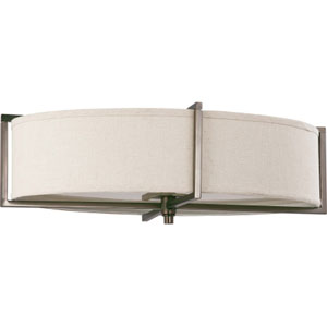 Portia Hazel Bronze Six-Light Flush Mount with Khaki Fabric Shade