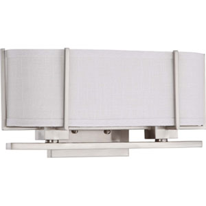 Portia Brushed Nickel Two-Light Bath Fixture with Slate Gray Fabric Shade