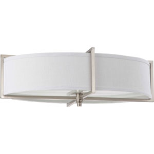 Portia Brushed Nickel Six-Light Flush Mount with Slate Gray Fabric Shade