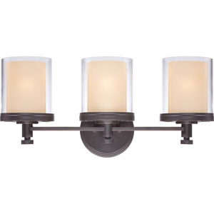 Decker Sudbury Bronze Three-Light Vanity Fixture w/Clear & Cream Glass