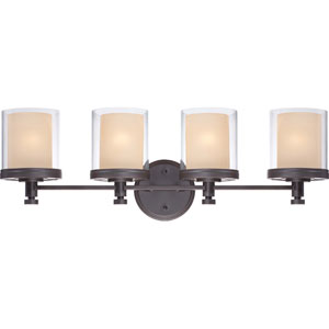 Decker Sudbury Bronze Four-Light Vanity Fixture w/Clear & Cream Glass