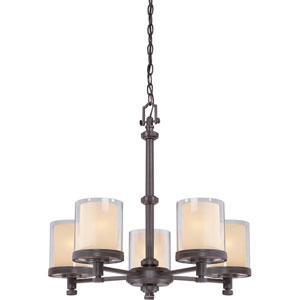 Decker Sudbury Bronze Five-Light Chandelier w/Clear & Cream Glass